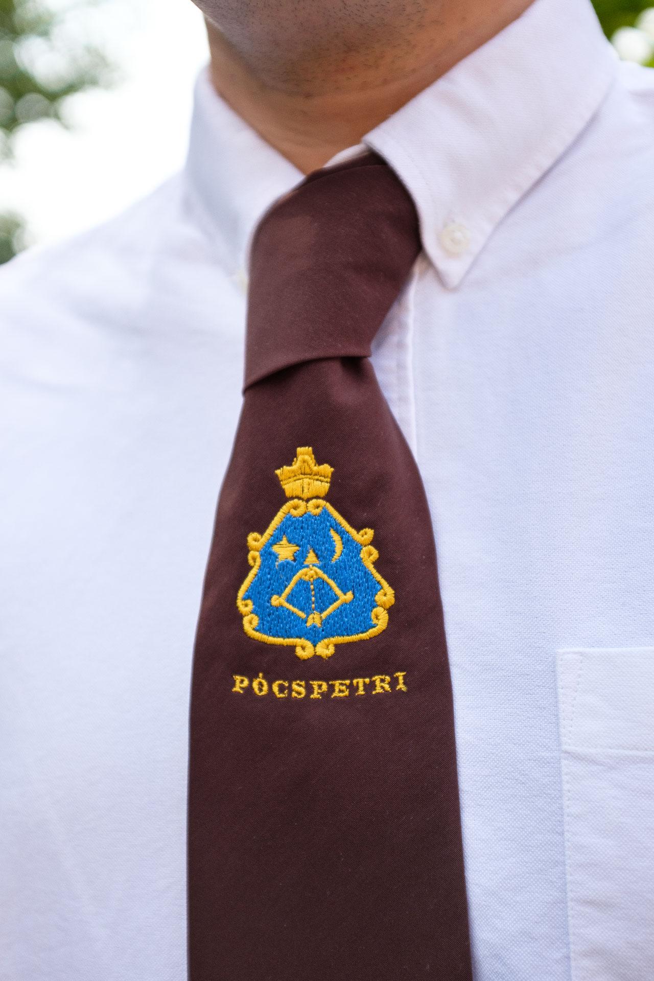 19e12c8313 Férfi nyakkendő hímzett logóval